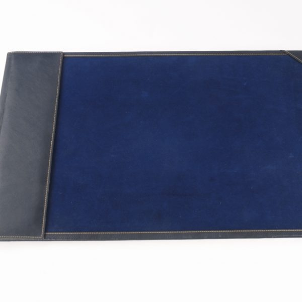 JL Collections Black and Blue Genuine Leather Room Desk Blotter